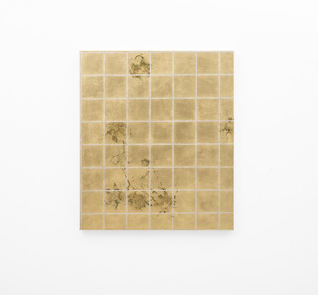 , 'Hair orchid sweat print, aluminium grid,' 2018, SMAC
