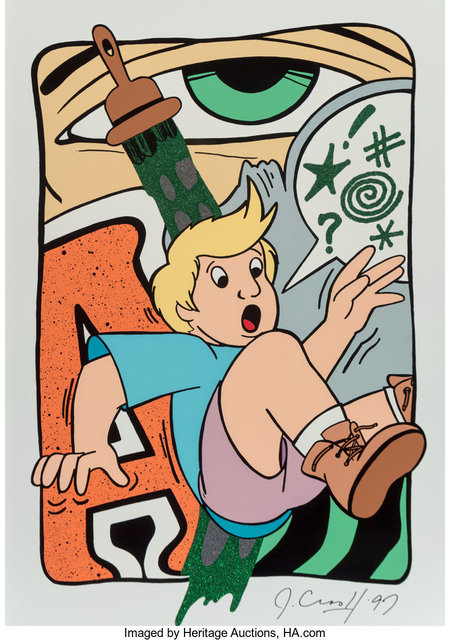 CRASH, 'Green Frustration', 1997, Print, Screenprint in colors with glitter on aluminum, Heritage Auctions