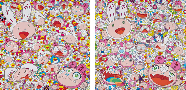 Takashi Murakami, 'There's bound to be difficult times There's bound to be sad times but we won't lose heart; we'd rather not cry, so laugh, we will!; and Fortune Favors the Merry Home, Kaikai and Kiki', 2017, Phillips