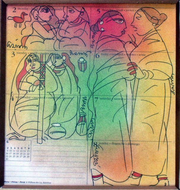 Ramananda Bandyopadhyay, 'Gossiping woman, Mixed Media in green, red, yellow by Indian Artist Ramanando Bandopadhayay, student of Nandalal Bose', 2005, Painting, Watercolour, Ink , Wash , Pen, Gallery Kolkata