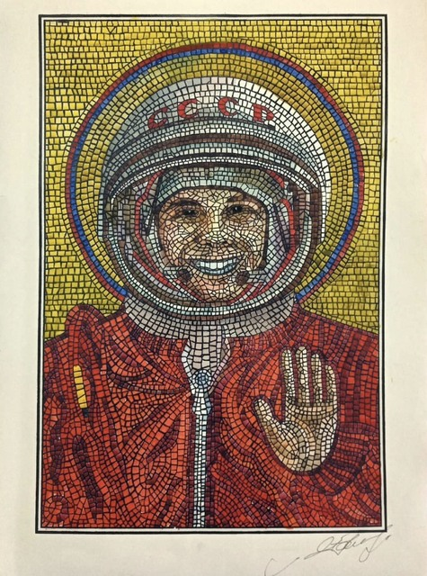Anatoly Gankevich, ' «With god»', 2019, Drawing, Collage or other Work on Paper, Technique silk screen printing, watercolor., Port agency