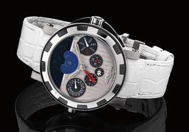 A very fine and rare limited edition white gold, titanium and black ceramic wristwatch with perpetual calendar, dual time, moon phases and presentation box, numbered 2 of a limited edition of 99 pieces