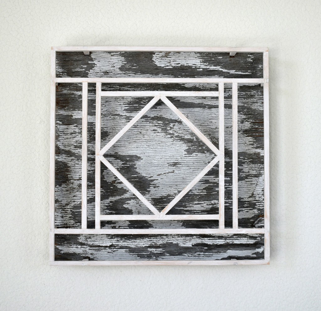 """""""Untitled (Center Diamond, White & Grey)"""" by Peter Sowinski, 2019, wood, plywood, gesso, 12 x 12 x 1.75 inches"""