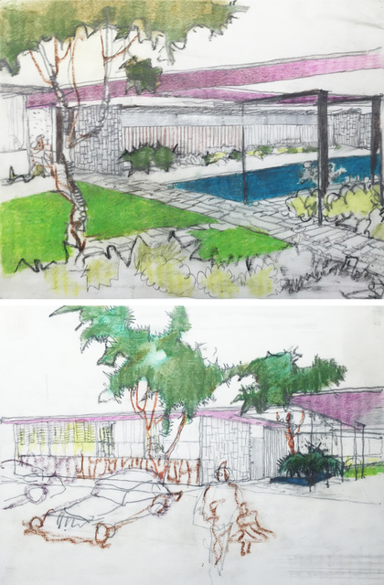 , 'Pair of perspective elevation drawings for the Mariners Medical Art Center, Newport Beach, CA,' 1963, Edward Cella Art and Architecture