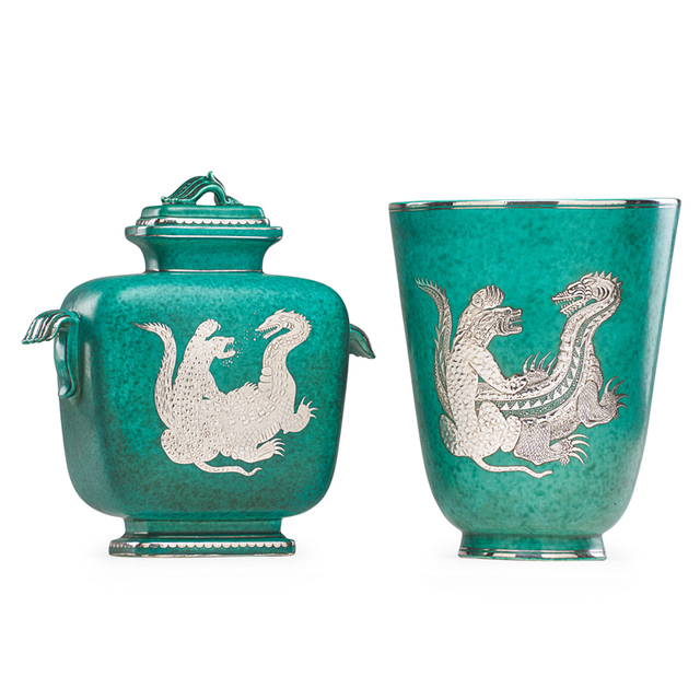Wilhelm Kåge, 'Argenta vase and two-handled lidded vessel with fighting dragon and tiger, Sweden', Design/Decorative Art, Glazed stoneware, silver inlay, Rago/Wright