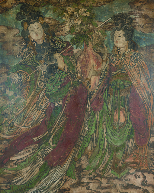 Unknown Artist, 'A Large Polychrome Fresco Fragment of Rectangular Form Painted with Female Immortal 元晚期|明早期14|15世紀 灰泥彩繪仙女圖壁畫殘部', China: late Yuan|early Ming Dynasty-14|15th century, Rasti Chinese Art