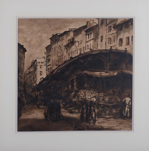 Émile Bernard, 'Marseille, Marché dans le vieux port, ', ca. 1920, Drawing, Collage or other Work on Paper, Ink on paper (lavis) ink on paper, NCAG