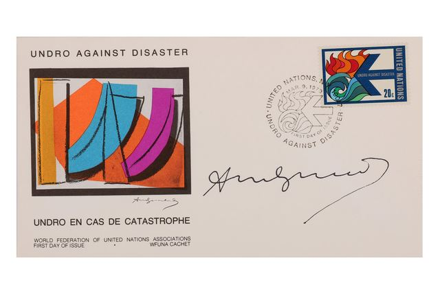 Andy Warhol, 'Undro En Cas De Catastrophe', 1970, Other, Signed envelope, Chiswick Auctions