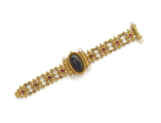 , 'Gold bracelet with rubies, pearls and hard-stone intaglio,' ca. 1875, Wartski