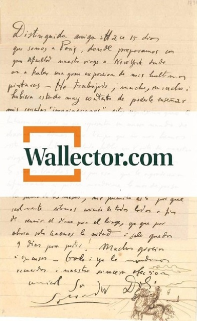 , 'Letter with sketch by Dalì to Countess Pecci-Blunt,' 1934, Wallector