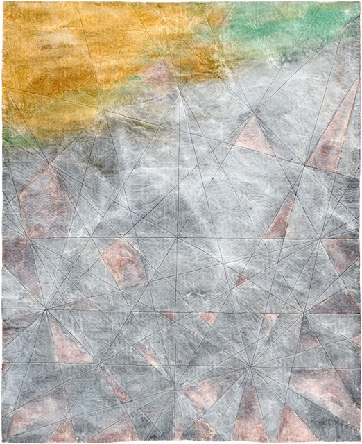 Raul Walch, 'NonWoven Semaphore: Lusatia', 2020, Mixed Media, Non-woven fabric, earth pigments, acrylic, thread, Aki Gallery