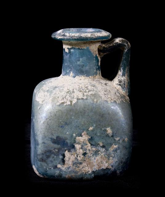 Unknown Roman, 'Quadrangular Incrusted Roman Blue/Green Glass Jar', Muzeion Gallery