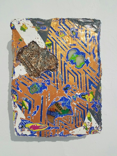 Duhirwe Rushemeza, 'Untitled', 2018, Painting, Oil and concrete with print on wood panel., Air Mattress Gallery