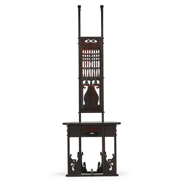 Charles Rohlfs, 'Rare And Exceptional Carved And Cut-Out Tall-Back Hall Chair, Buffalo, NY', 1900, Rago/Wright