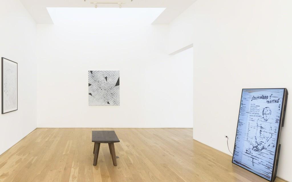 "Installation of Danny Jauregui, ""Piss Elegant / Some Motorcycle,"" at Samuel Freeman, 2016."