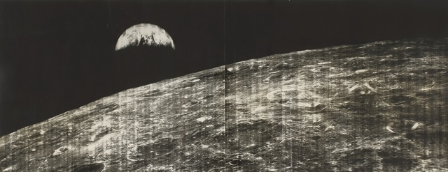 Lunar Orbiter I, 'MAN'S FIRST LOOK AT THE EARTH FROM THE MOON, 23 AUGUST 1966', Photography, Silver gelatin print, Sotheby's