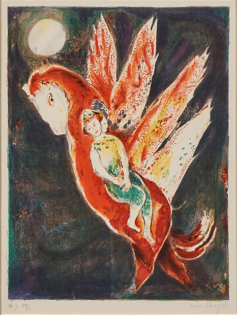 Marc Chagall, 'Then the old woman mounted the Ifrit's back, pl. 7 from Four Tales from the Arabian Nights', 1948, Print, Lithograph in colors (framed), Rago/Wright
