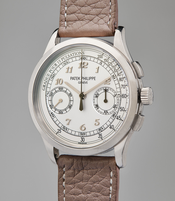 Patek Philippe, 'A rare and attractive white gold chronograph wristwatch with pulsometer scale, original certificate, and presentation box', 2013, Phillips