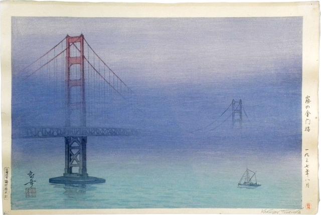 Kakunen Tsuruoka, 'Golden Gate Bridge in Fog ', 1937, Scholten Japanese Art