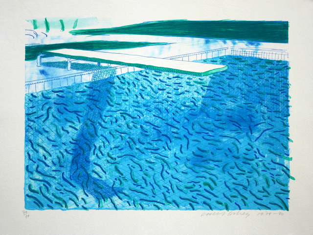 , 'Lithograph of Water Made of Thick and Thin Lines, a Green Wash, a Light Blue Wash, and a Dark Blue Wash,' 1978-1980, ARCHEUS/POST-MODERN
