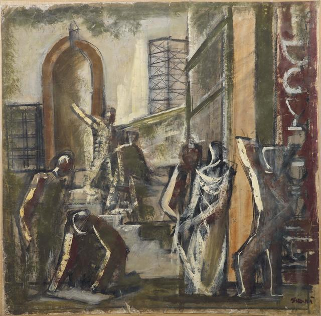 Mario Sironi, 'Work', made in 1933, Painting, Mixed technique, tempera, on intelated paper, Pandolfini
