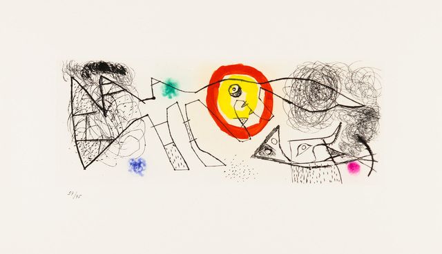 """Joan Miró, 'Untitled from Erik Satie: Poems ', 1969, Print, Original etching, aquatint and drypoint printed in colors on Arches wove paper bearing the publisher's """"LB"""" watermark, Christopher-Clark Fine Art"""