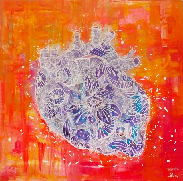 """PAU Quintanajornet, '""""Heart""""', ca. 2019, Painting, Paint marker, ink and acrylic on wood, Parlor Gallery"""