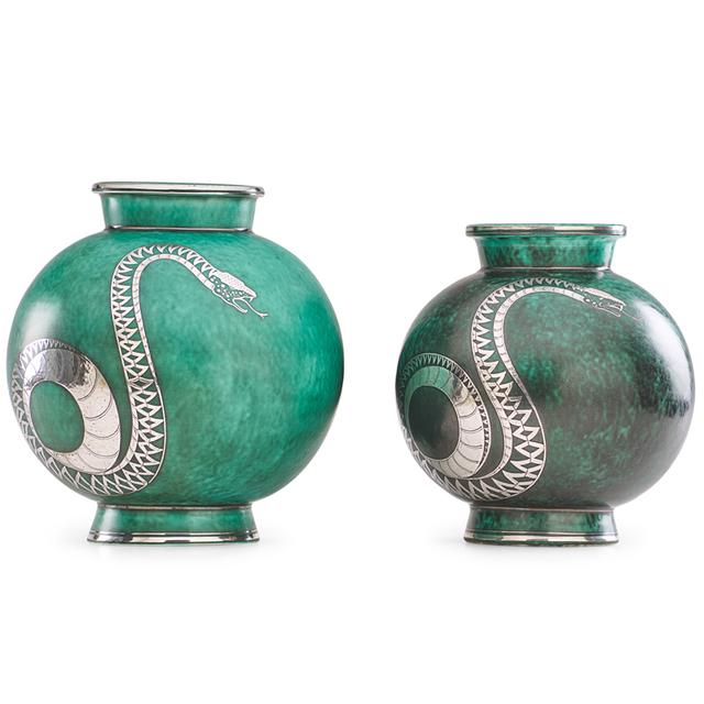 Wilhelm Kåge, 'Two Argenta vases with snakes, Sweden', Rago