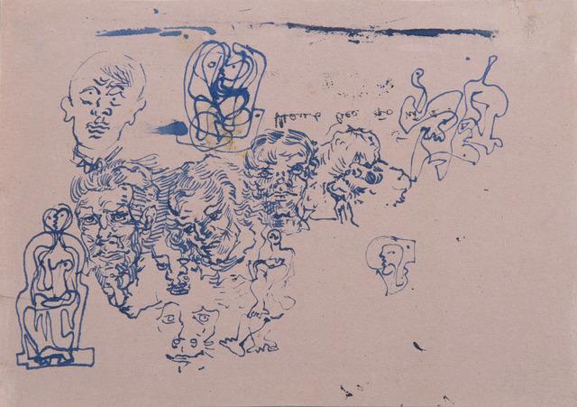 Salvador Dalí, 'Étude d'un groupe de têtes d'hommes, d'une tête de lion et de couples', ca. 1929-1930, HELENE BAILLY GALLERY
