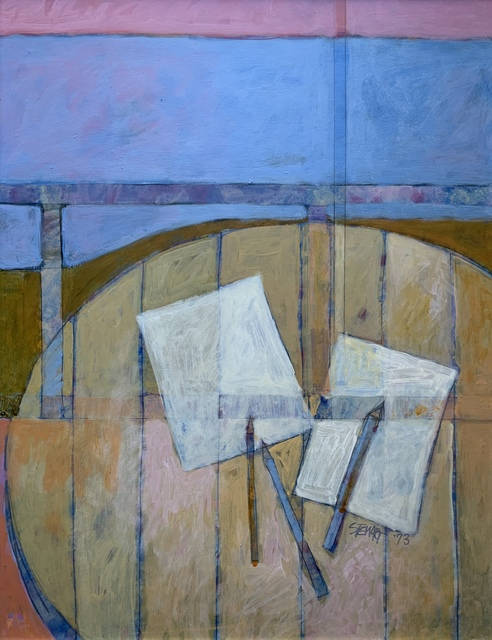 Kipp Stewart, 'Untitled (Table with Paper and Pencils)', 1973, Painting, Oil on board, Kwiat Art