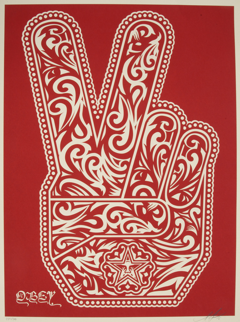 Shepard Fairey (OBEY), 'Peace Fingers', 2016, Julien's Auctions