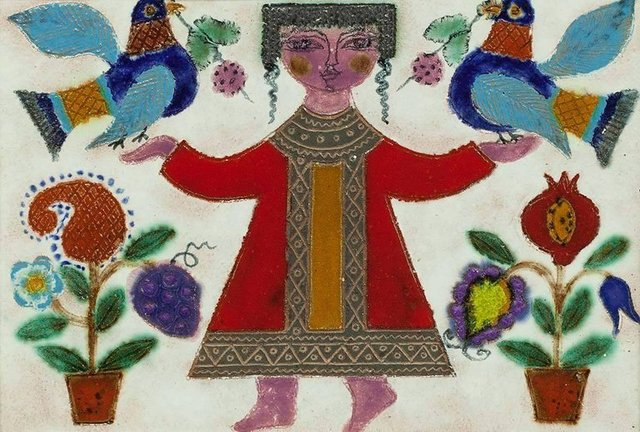 Irene Awret, 'Glazed Israeli Folk Art Naive Tile Figure with Flowers and Birds', 20th Century, Lions Gallery