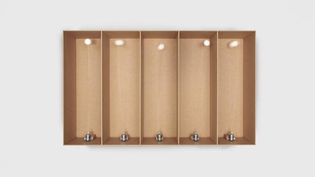, '5 prepared dc-motors, cotton balls, cardboard boxes 60x20x20cm,' 2014, Eduardo Secci Contemporary