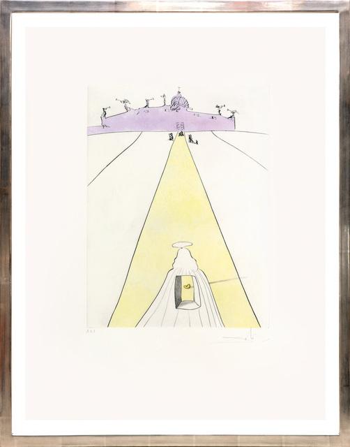 Salvador Dalí, 'Dieu, le temps, l'espace et le pape (God, Time, Space and the Pope)', 1974, Print, Drypoint etching with pochoir stencil on Velin de Rives paper, artrepublic