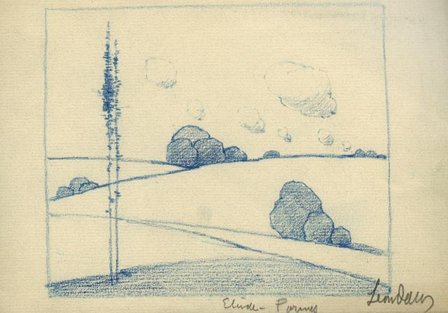, 'Etude - Tree, Rock, and Cloud Forms,' ca. 1900, Sullivan Goss