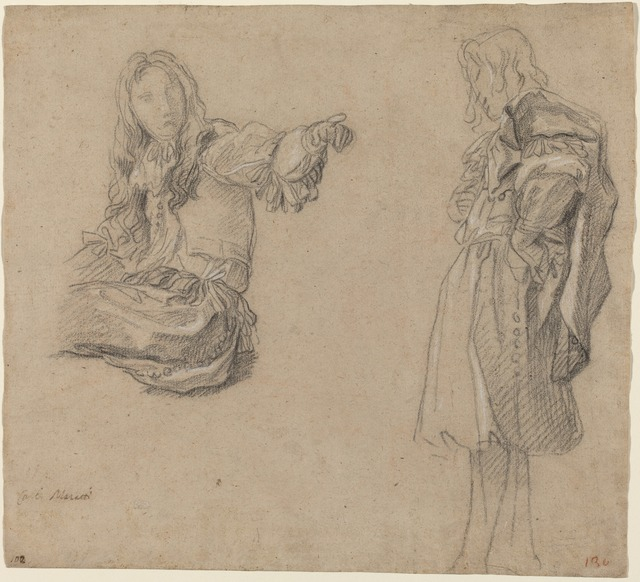 Carlo Maratti, 'Two Men in Elaborate Costumes', ca. 1680, Drawing, Collage or other Work on Paper, Black chalk heightened with white on light brown laid paper, National Gallery of Art, Washington, D.C.