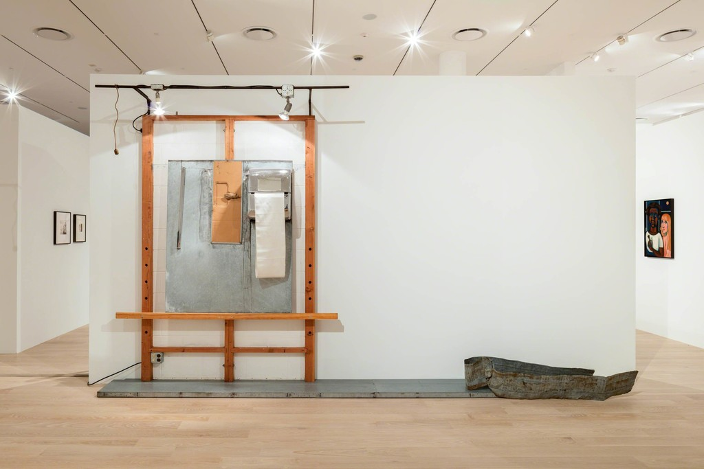 "Edward Kienholz and Nancy Reddin Kienholz, White Easel with Wooden Hand, 1978. Mixed media. Courtesy the artist and L.A. Louver, Venice, California. Installation view: ""The Everywhere Studio,"" Institute of Contemporary Art, Miami, Dec 1, 2017–Feb 26, 2018. Photo: Fredrik Nilsen Studio."
