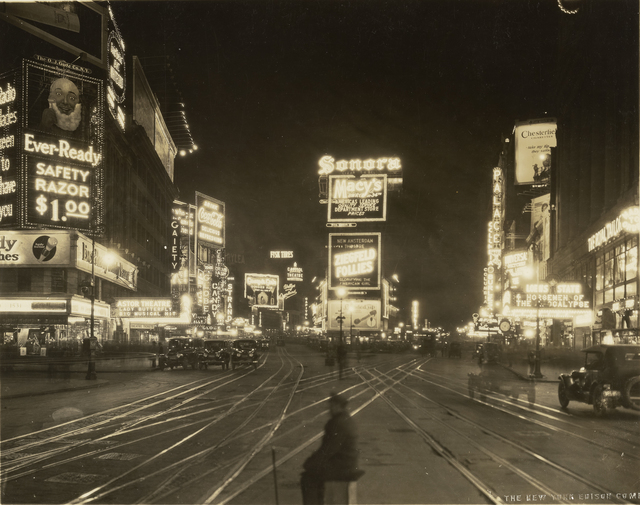 , 'A Night View of Broadway looking North from 45th Street,' 1923, J. Paul Getty Museum