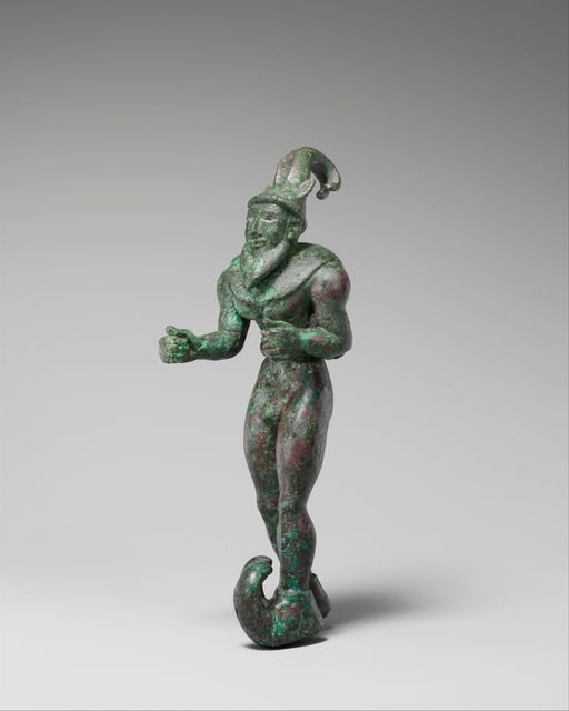 Unknown Proto-Elamite, 'Striding figure with ibex horns, a raptor skin draped around the shoulders, and upturned boots', ca. 3000 B.C., The Metropolitan Museum of Art