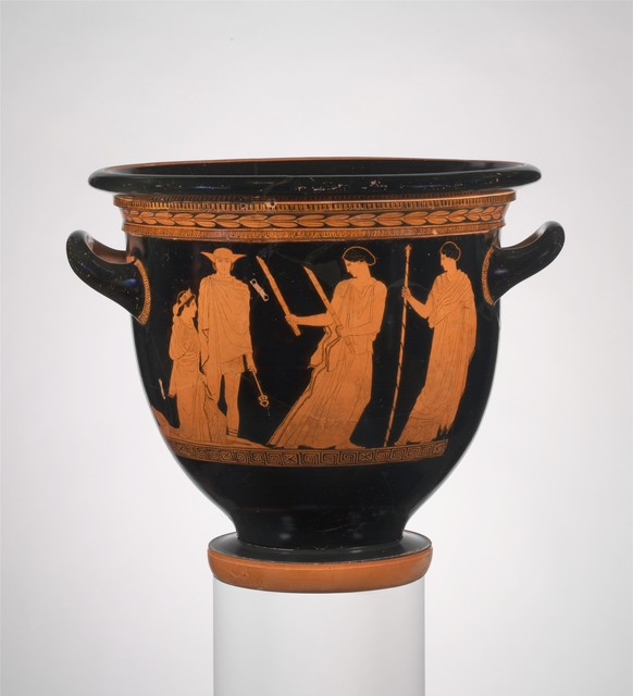 Attributed to the Persephone Painter, 'Terracotta bell-krater (bowl for mixing wine and water)', ca. 440 B.C., The Metropolitan Museum of Art