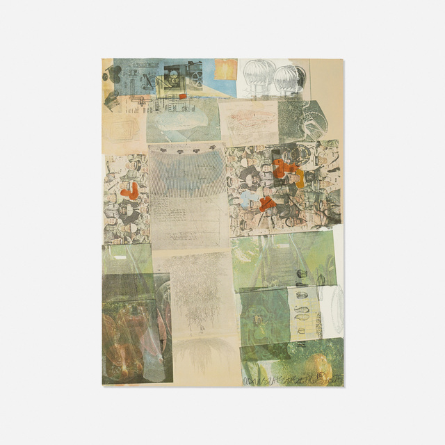 Robert Rauschenberg, 'Deposit (from the portfolio America: The Third Century)', 1975, Print, Offset color lithograph with pochoiron paper, Rago/Wright