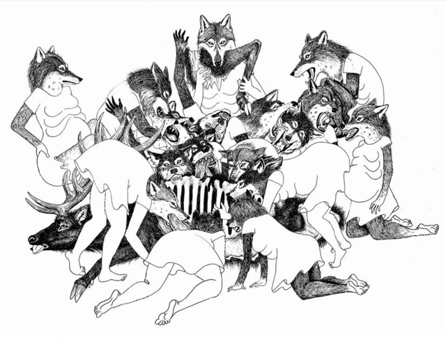 , 'She Wolves Play Together to Practice Hunting Techniques,' 2017, Marta Hewett Gallery