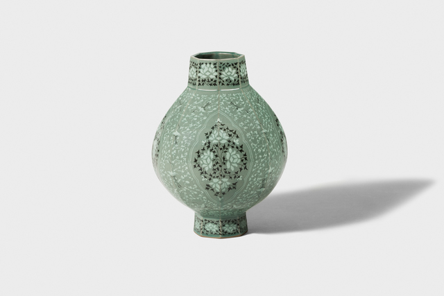 Kwang-yeol Yu, 'Celadon Octagonal Bottle  with Inlaid Cloud, Peony  and Scrolled Design', 2006, Gallery LVS