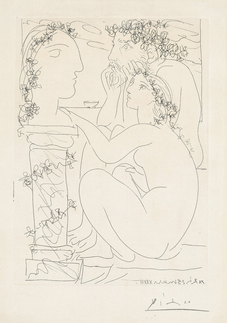 Pablo Picasso, 'Sculpteur avec son modèle et sa sculpture (Sculptor with his Model and Sculpture), plate 45 from La Suite Vollard', 1933, Print, Etching, on Montval paper watermarked Picasso, with full margins., Phillips