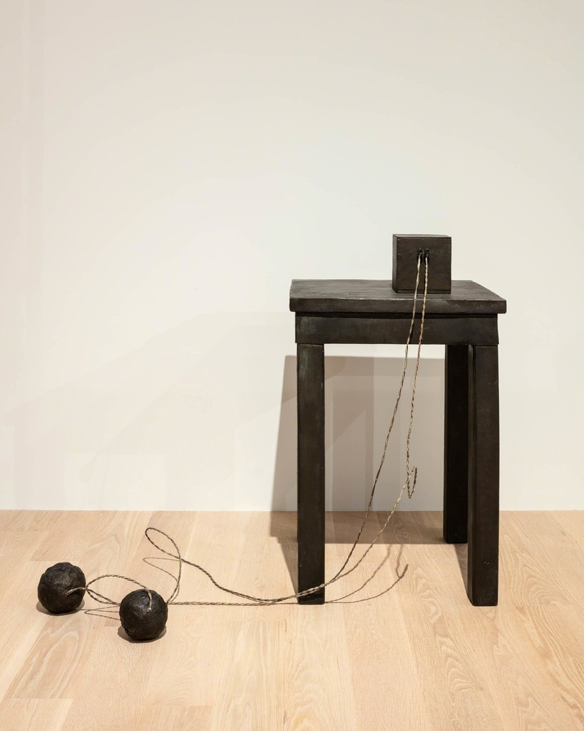 "Joseph Beuys, Tisch mit Aggregat (Table with Accumulator), 1958–85. Bronze, wire cables. Courtesy Galerie Thaddaeus Ropac, London, Paris, and Salzburg. Installation view: ""The Everywhere Studio,"" Institute of Contemporary Art, Miami, Dec 1, 2017–Feb 26, 2018. Photo: Fredrik Nilsen Studio."