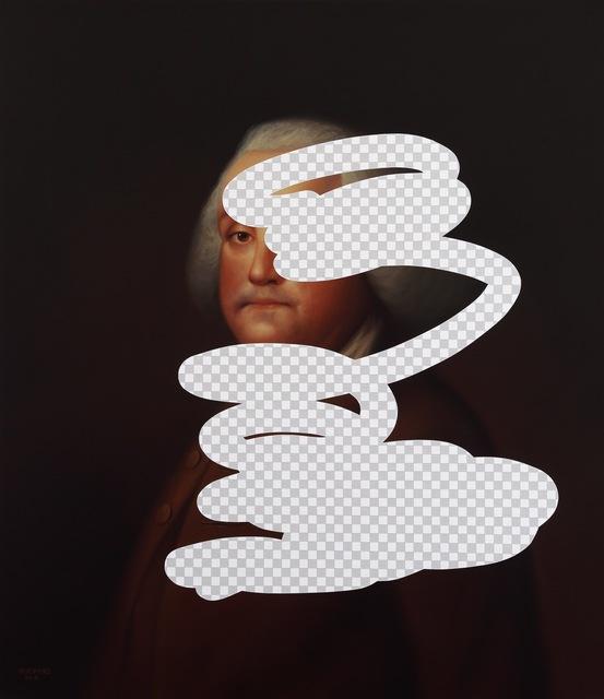 , 'Setup & Trap (Benjamin Franklin, White House Art Collection, Erasure No. 22),' 2018, George Billis Gallery