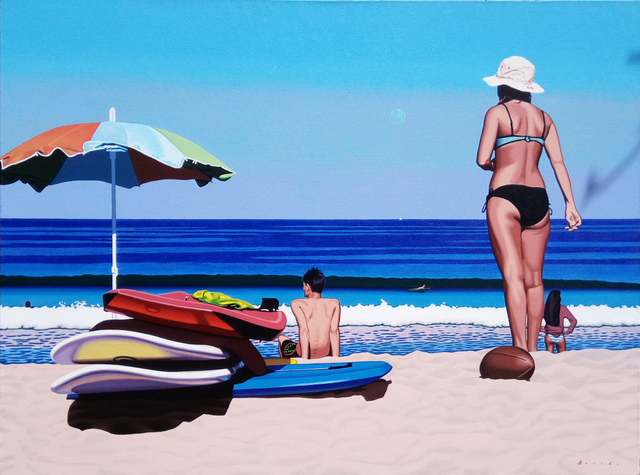", '""Beach Day"" photorealistic oil painting of a woman at the beach with deep blue ocean,' 2010-2018, Eisenhauer Gallery"