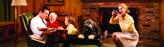 , 'Colorama 252, Family by fireplace,' Displayed 3/15/65–5/5/65, George Eastman Museum