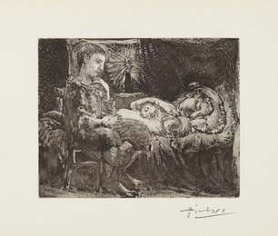 Garçon et dormeuse à la chandelle (Boy and Sleeping Woman by Candlelight), plate 26 from La Suite Vollard