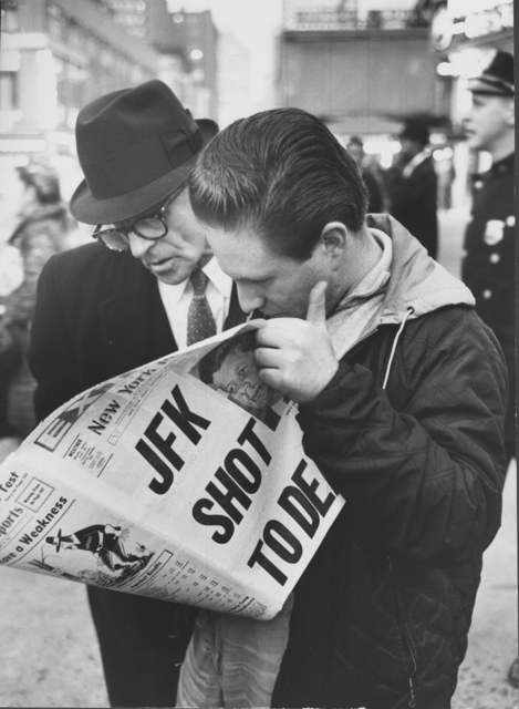 , 'New Yorkers reading of President John F. Kennedy's assassination, November, 1963,' 1963, Monroe Gallery of Photography